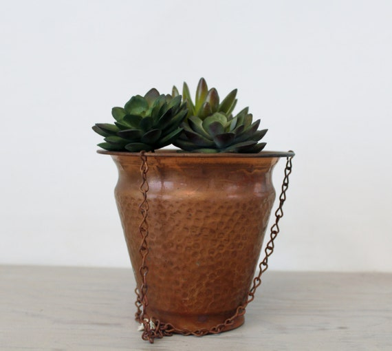 Vintage Copper Hanging Planter Hammered Copper Flower Pot