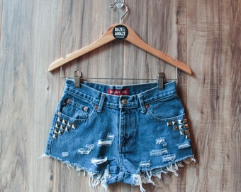 High waist vintage studded denim shorts | Ripped distressed shorts | Silver pyramid studded | Festival shorts | Silver studded shorts