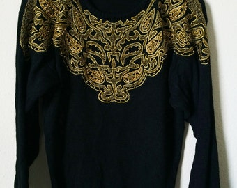 80s Black Gold Embroidered Paisley Sequins Jumper Sweater Punk Goth Psych