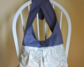 Hobo Bag Boho Bag Cross Body Bag Sling Bag Hippie Purse Pleated Gray Paisley Hobo Purse Slouch Bag Handmade Fabric Purse Crossbody Hobo Bag