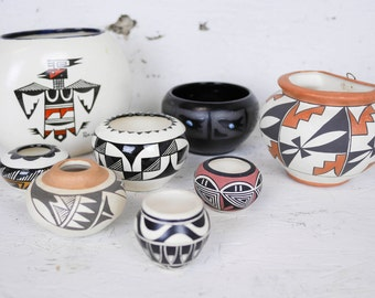 Native American Design Pottery Grouping