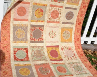 Modern Quilt Circles Moda Fabric Elegant Shabby Cottage Chic Floral Garland Circles French Country Large Throw Small Twin Modern Quilt