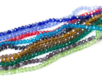 10 Bead Strands - 720pcs apx - WHOLESALE - Handmade Glass Beads - Assorted - Austrian Crystals - Faceted Abacus - 8x6mm  - B1240