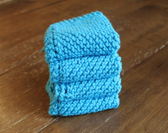 4 Hand Knitted Dish Cloths, Hot Blue Dish Rags, 100% Cotton, Kitchen Wash Cloths, washcloths, dishcloths, Sugar'n Cream yarn