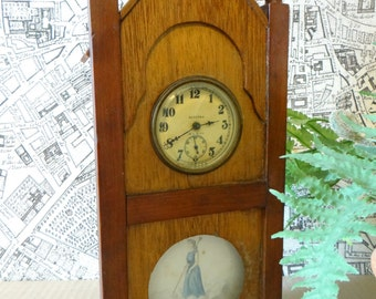Early 1900's Tramp Art Steeple Clock with Original Painting