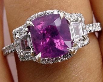 "GIA ""NO HEAT"" 3.71ct Natural Deep Vivid Pink Cushion Sapphire and Diamond Halo Platinum Ring"
