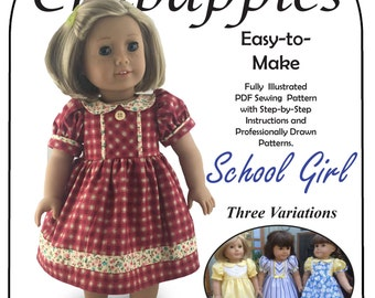 PDF Pattern for 18 inch doll School Girl Dresses- Instant Download