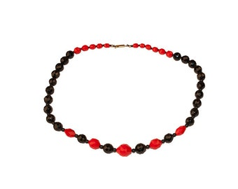 Faceted Glass Bead Necklace, Red Beads & Black Beads