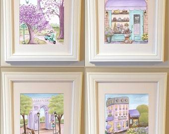 Purple Paris Decor, Paris Art Prints, Personalized Girl Gift, Purple And Aqua Baby Nursery Decor Idea, Girl Baby Shower Gift, Eiffel Tower