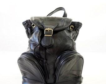 Pleather Black 90s Mini Backpack