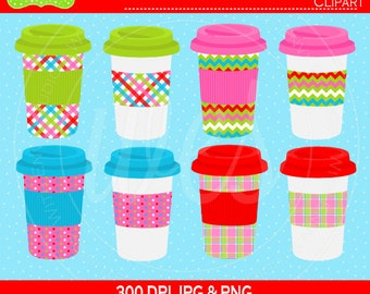 SALE  Holiday Drink Cups Digital Clipart Set - Coffee Clip Art - Tea Clipart - To Go Cups Clipart - Commercial Use