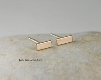 Modern Gold Earrings Solid Gold Bar Earrings Handmade Minimal Gold Earrings Gold Studs Gold Line Earrings