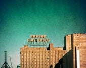 Montreal Farine Five Roses photograph,  turquoise and rust urban decor, landmark, famous sign, architecture print