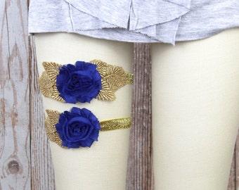 Blue Flower Wedding Garter Set,Royal Blue Shabby Chic Flower with Gold Leaves Garter Set,Something Blue, Blue Garter / GT-25