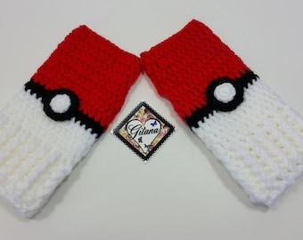Pokemon Ball Fingerless Gloves- Wrist Warmers- Anime Gloves- Mittens- Pokemon Ball Accessories- Pokemon Ball