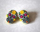 Day of the Dead Earrings -- Skull Earrings, Skull Studs, Day of the Dead, Halloween Studs
