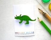 Dinosaur Brooch Cute Brooch Green Triceratops Dinosaur Pin