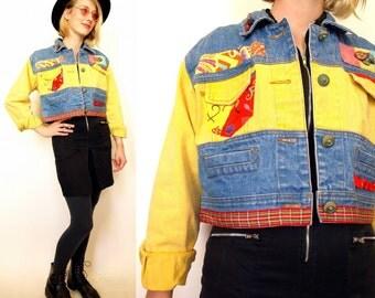 Vintage 90s colorful women's denim cropped jean jacket size s or m