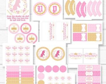 "INSTANT DOWNLOAD Diy ""Sleeping Princess"" Aurora Beauty Girls Birthday Party Digital Printable Party Package"