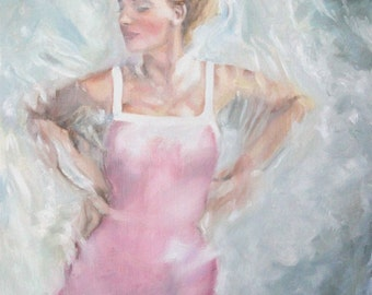 Original Oil Painting: Vintage Fifties Fashion Model Pink Swimsuit in Water