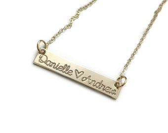 SOLID GOLD BAR Necklace // 14k Gold Bar Necklace // Solid 14k Gold Necklace / Personalized Stamped Name Jewelry Gift For Her Wife Girlfriend