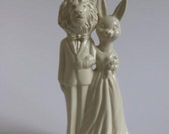 Lion and Bunny Handmade Wedding Cake Topper