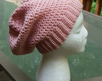 Banded Slouchy Beanie in Pink - Ready to Ship
