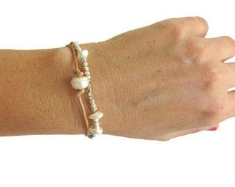 leather pearl bracelet etsy. Black Bedroom Furniture Sets. Home Design Ideas