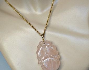 Vintage Carved Peach  Rose Quartz Pendant, Vintage Carved Rose Quartz Pendant, 14k Chinese Carved Pendant
