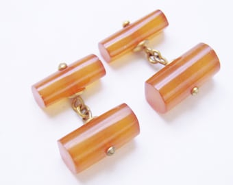 Art Deco Amber Cuff Links / Mens Dress Set / Cuff Buttons / Suit Accessories / 1930s Vintage / Genuine Amber / Jewelry / Jewellery