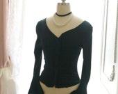 Goth Gothic Boho Cotton Bell Long Sleeves ruffles V neckline Top Blouse Black ,steampunk Victorian Fall winter
