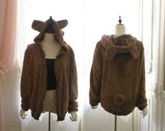 Super Cute Bear Ear Hooded Hoodie  Ball Tail Fall Winter Soft  Fluffy Brown Jacket Coat Lolita Kawaii Chic