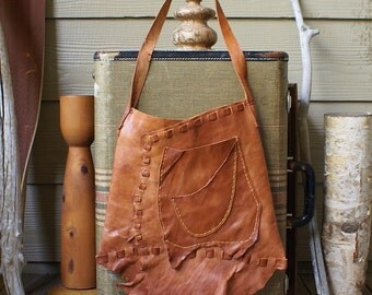Large Leather Shoulder Bag in Reddish/Tan Rustic Leather