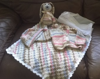 Knitted and Crocheted, New Baby Gift Set