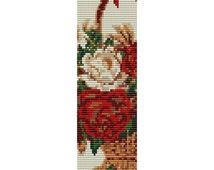 Flower Basket Loom Bead Pattern, Bracelet Cuff, Bookmark, Seed Beading Pattern Miyuki Delica Size 11 Beads - PDF Instant Download