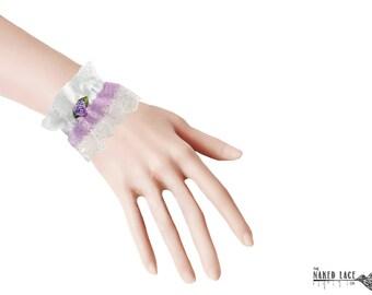 W19 Sweet Lolita Lilac and White Lace Wrist Cuffs