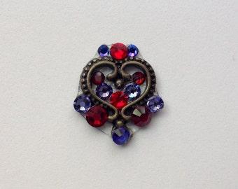 Purple & Red Heart Swarovski Crystal Bindi