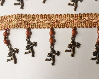 Metal Cherub Charms on Woven Trim, 1 yd Dangling Cherubs and Brown Beads