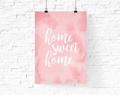 home sweet home printable   Pastel Pink Spring Printable Wall Art   Instant Download Digital Print   Home Decor   Wall Decor