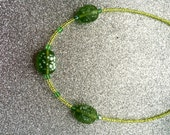 Lime Green Glass Rocaille Necklace with Green and White Mottled Glass Beads by JulieDeeleyJewellery on Etsy