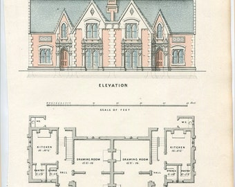 Antique Architecture Print. Two Semi-Detached Houses Date C1855. Detailed Elevation and Plan. Perfect Antique Gift For Architect or Builder