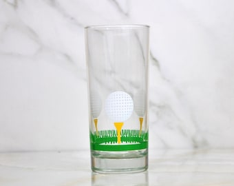 Vintage Golf Glass, Tumbler, 16 oz,  Golf Ball and Tee, Golfing, Glass Tumbler, Tea Glass, Tea Tumbler, Sports, Golfer, Golf Course