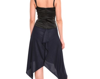 Tango Skirt Malena in Sparkling Navy Jersey, OOAK Tango Skirt, Tango Clothing with Asymmetry, Tango Clothes in Custom Color and Custom Size