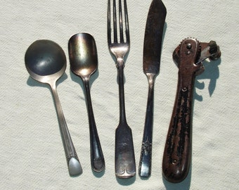 Set of Vintage Utensils and Can Opener