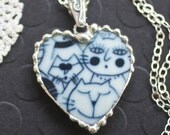 Necklace, Broken China Jewelry, Broken China Necklace, Heart Pendant, Blue Cat Faces, Sterling Silver, Soldered Jewelry