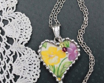 Necklace, Broken China Jewelry, Broken China Necklace, China Heart Pendant, Purple and Yellow Violets, Sterling Silver, Soldered Jewelry