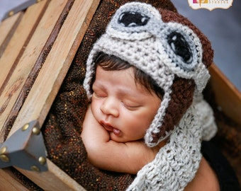 Newborn Aviator Hat, 3 Piece Set, Aviator, Goggles, Scarf, Brown, Ivory Tweed, Baby, Boy, Girl, Newborn Photo Prop, Ready to Ship