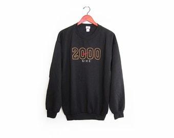 vintage sweatshirt / NIKE / embroidered / 1990s NIKE 2000 black embroidered sweatshirt Large