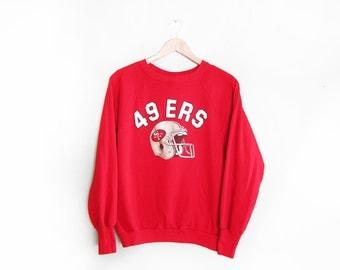 vintage sweatshirt / raglan / San Francisco 49ers / 1970s red SF 49ers football sweatshirt Small