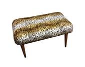 Vintage Footstool - Mid Century Modern Stool, Upcycled Leopard Footstool, Faux Fur Animal Ottoman, Retro 1950's Footrest, NEW Upholstery